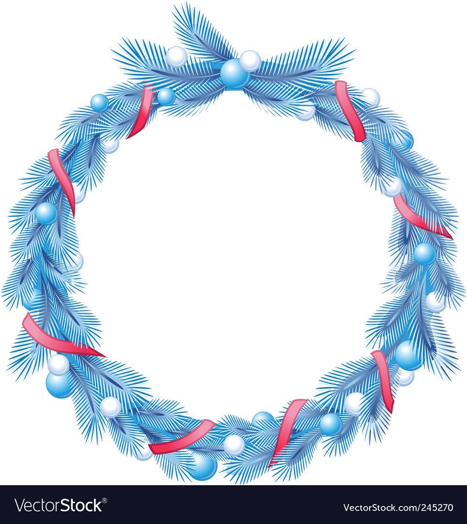 christmas wreath vector image - Blue Christmas Wreath