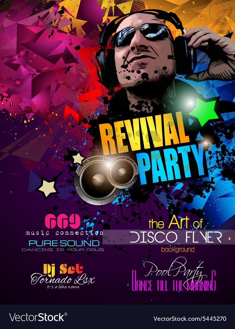 Disco night club flyer layout with disck jockey vector image maxwellsz