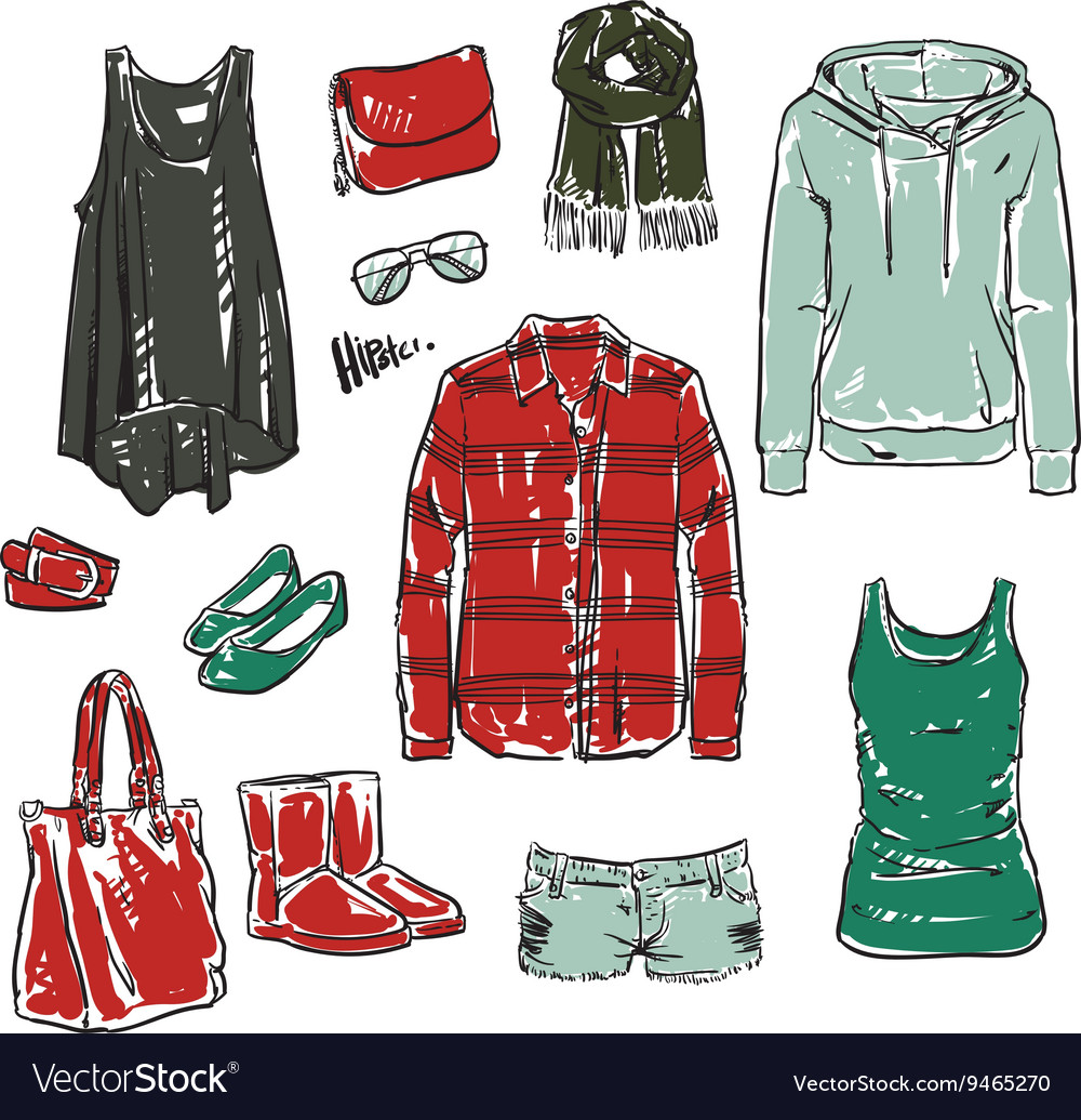 Females isolated accessories and modern woman vector image