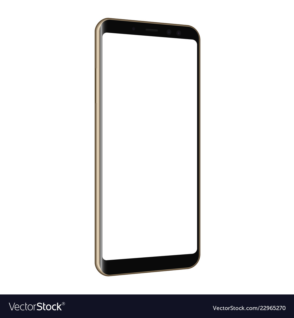 Frameless cellphone mock up isolated