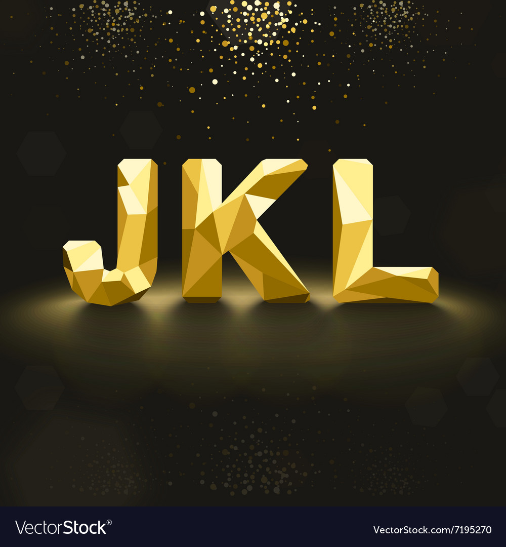 Golden Lowpoly Font from J to L