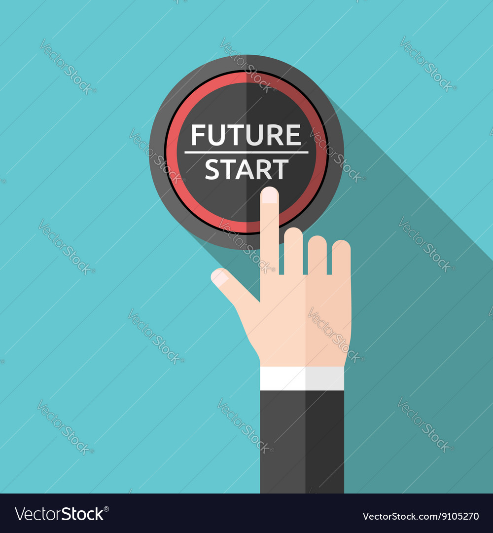 Hand pushing future button vector image