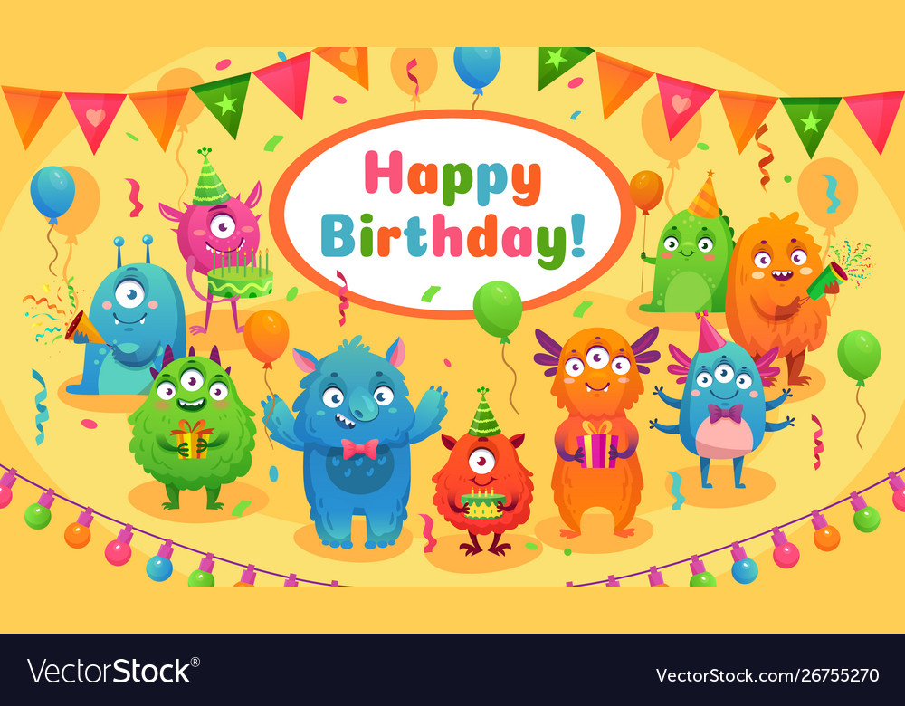 Happy birthday monsters kids birthday party cute