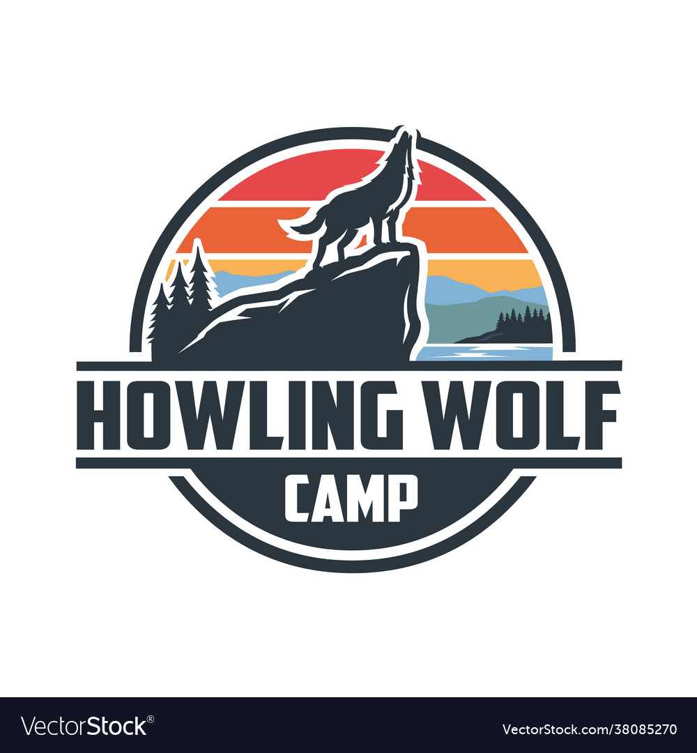 Howling wolf camp logo best for outdoor activity