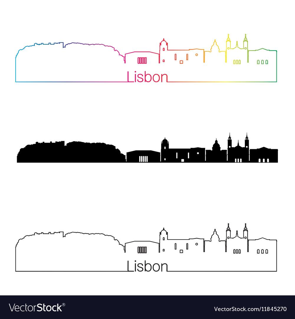 Lisbon V2 skyline linear style with rainbow
