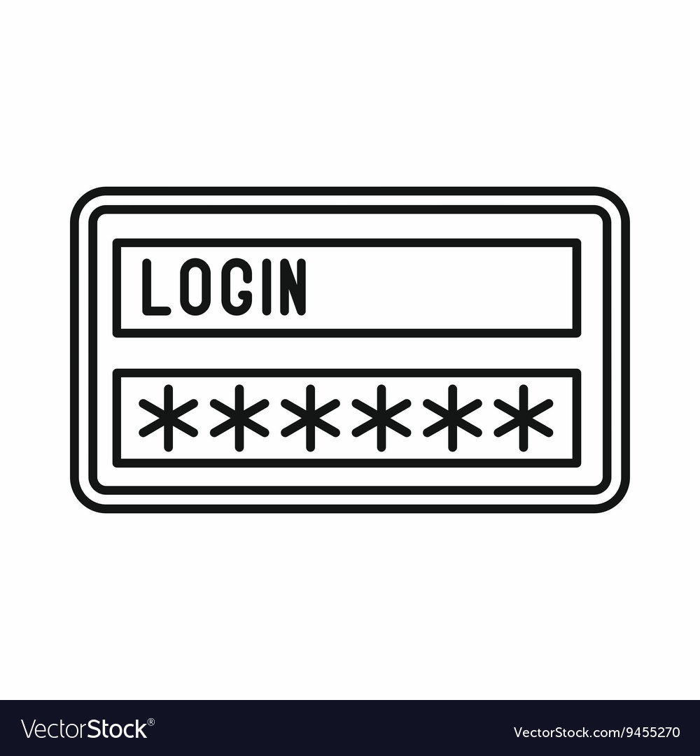 Login and password icon outline style vector image