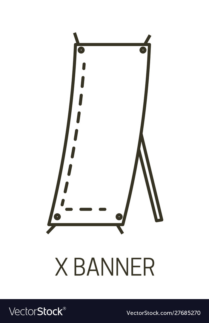 Promotional presentation stand x banner isolated