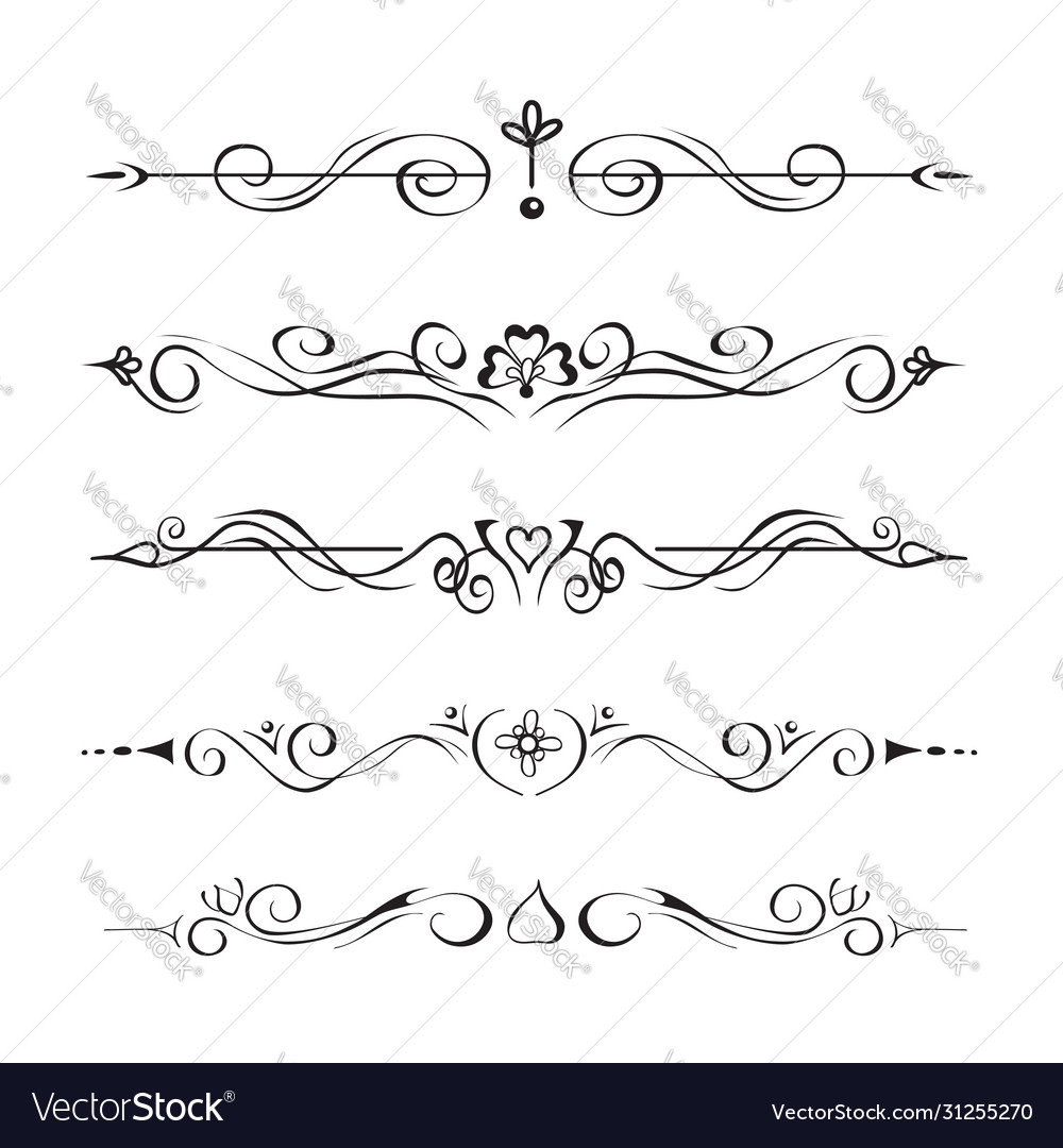 Set hand drawn text dividers vignettes