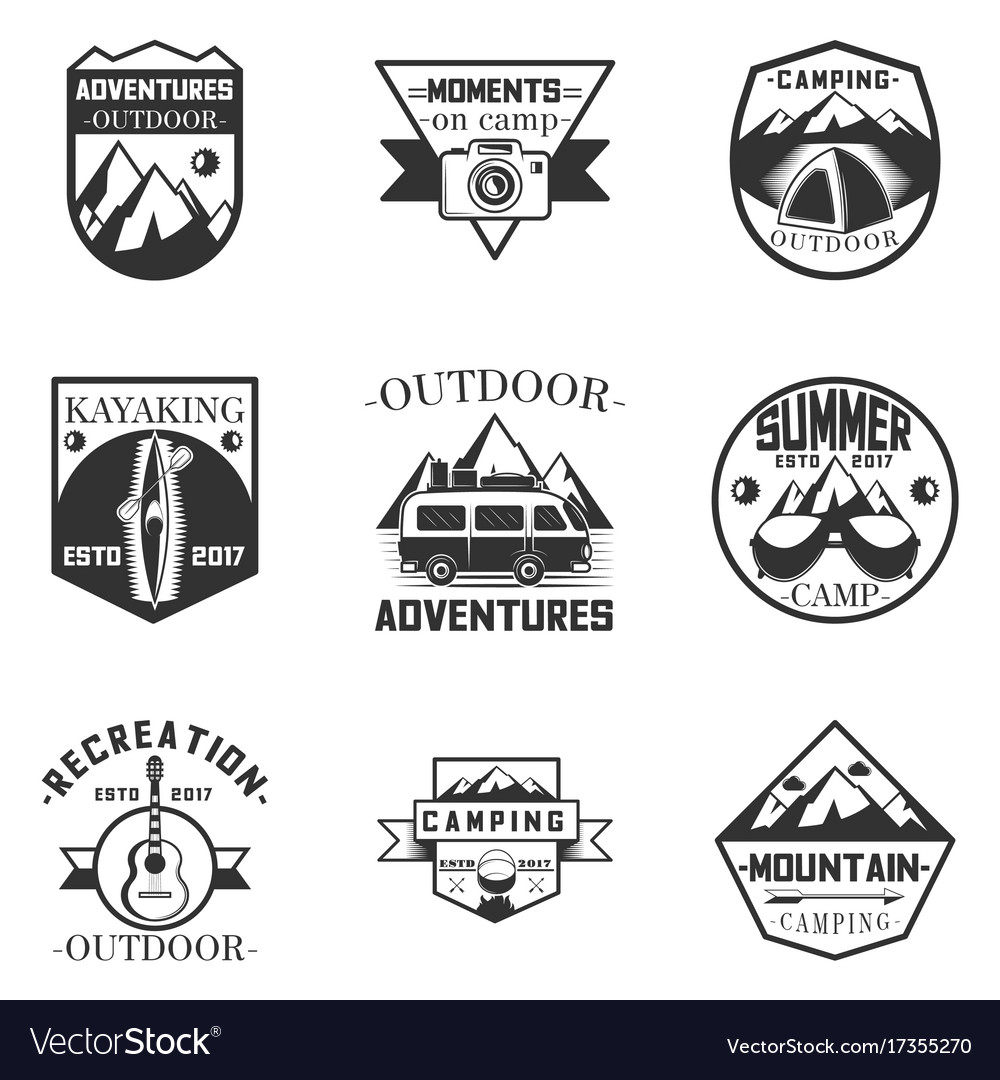 Set of outdoor activity camping