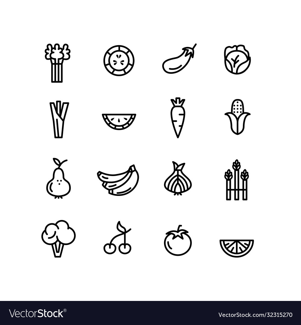 Vegetables and fruits green healthy eating icons