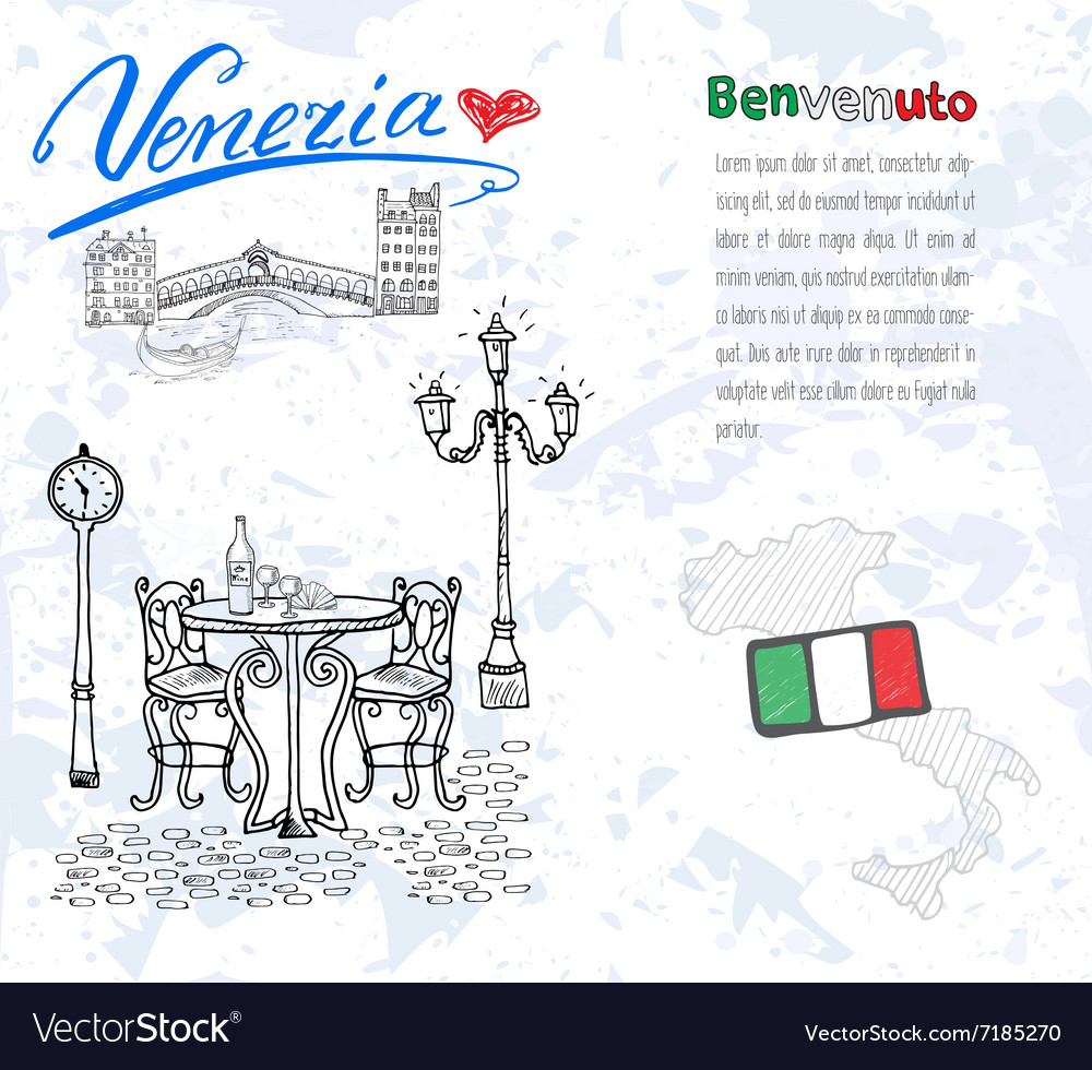 Venice Italy sketch elements Hand drawn set with