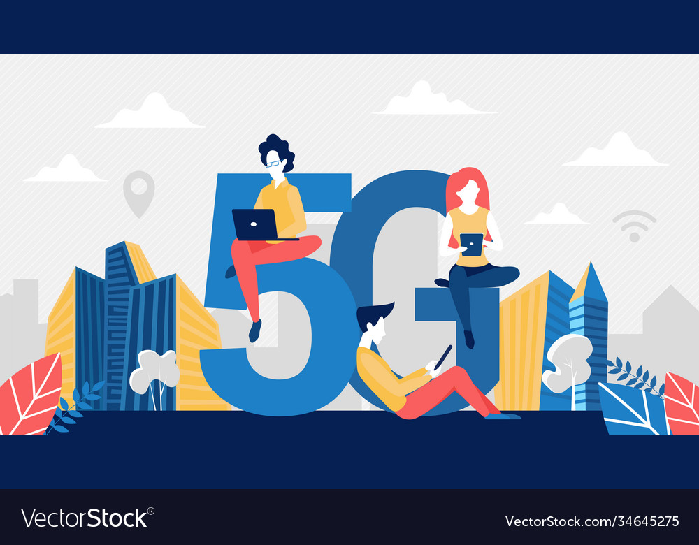 5g network wireless technology concept with tiny