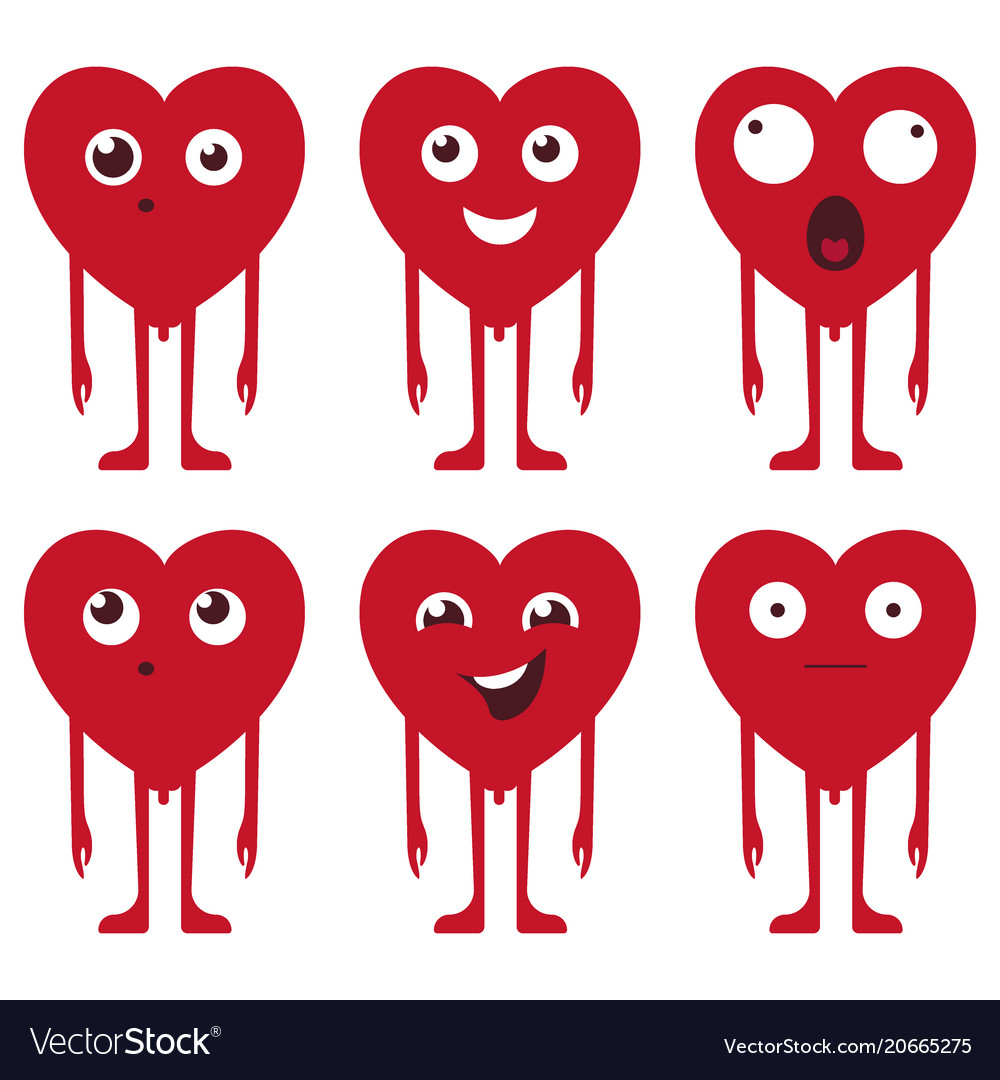 A set of cartoon heart patch badges vector image