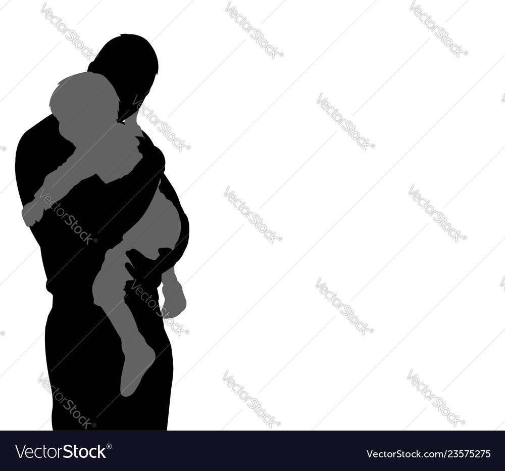 Father carrying his son silhouette with copy space