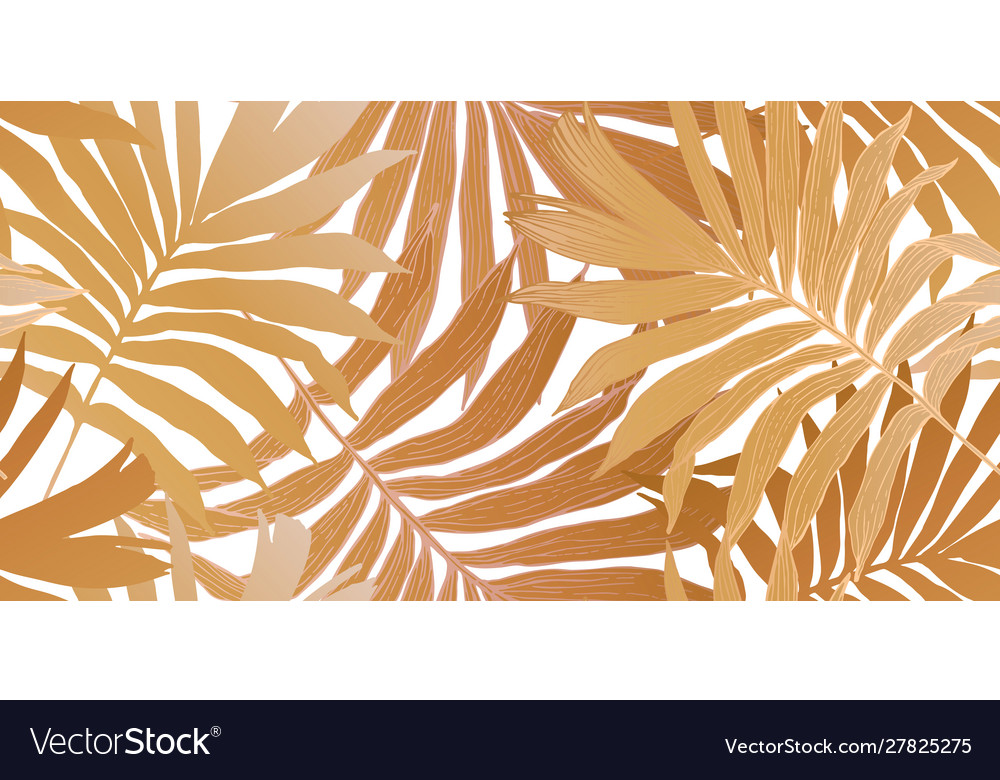 Gold colored fan palm leaves seamless pattern