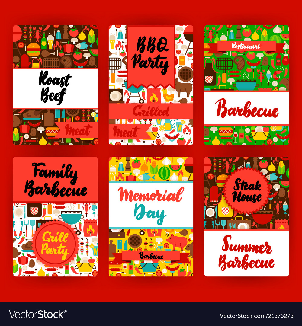 grill invitation template set royalty free vector image