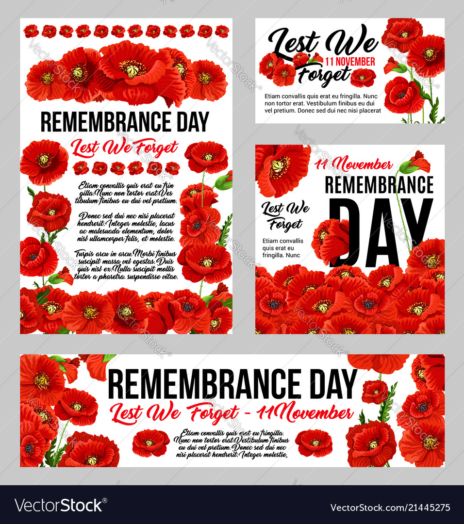 Remembrance Day Poppy Flower Memorial Banner Vector Image