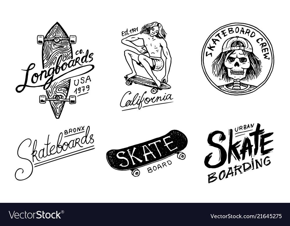 Set of skateboarding labels logo