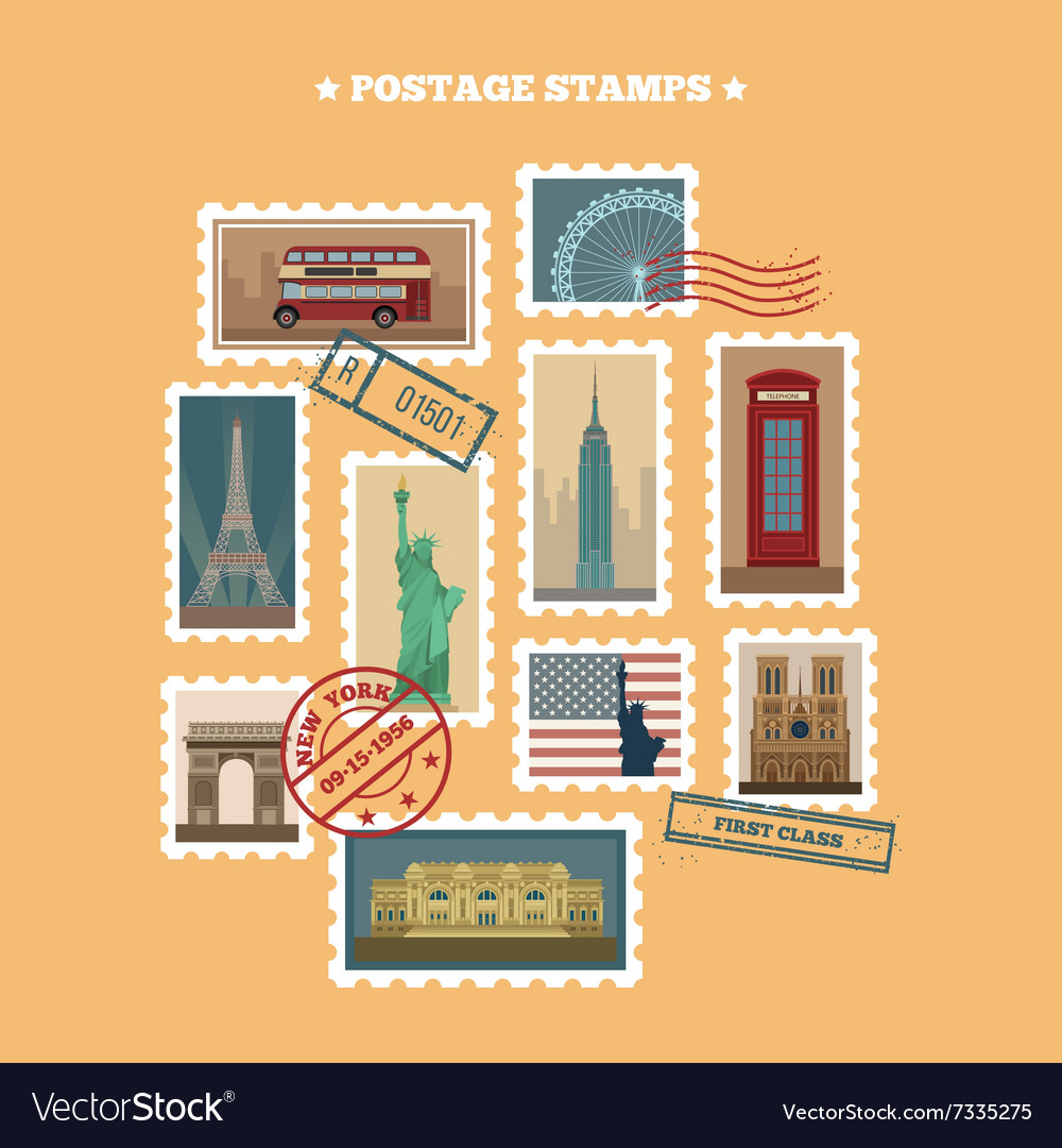 Set travel postage stamps new york london paris vector