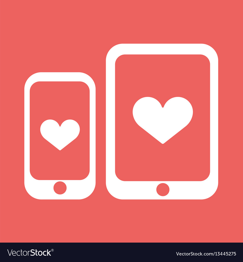 Smartphone and tablet with heart icon