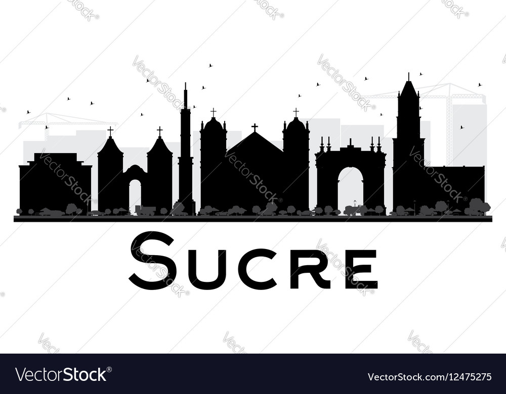 Sucre City skyline black and white silhouette