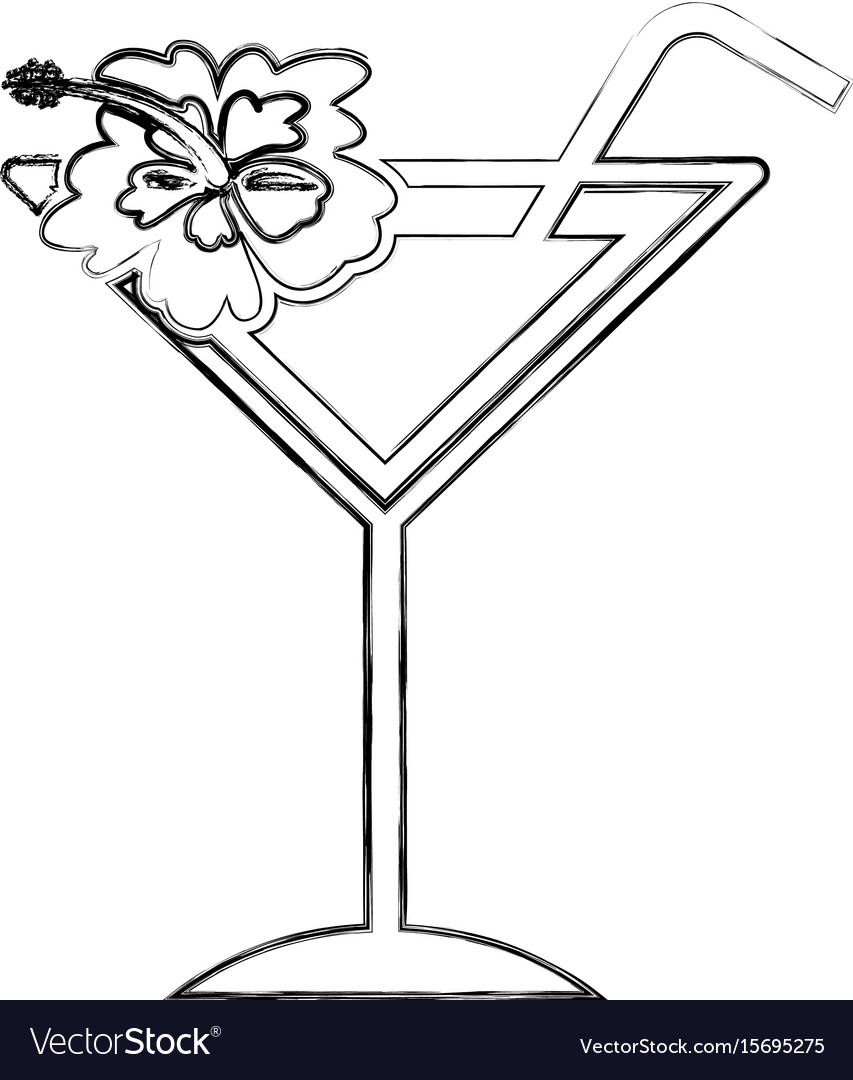 Tropical cocktail cup with hibiscus flower vector image izmirmasajfo