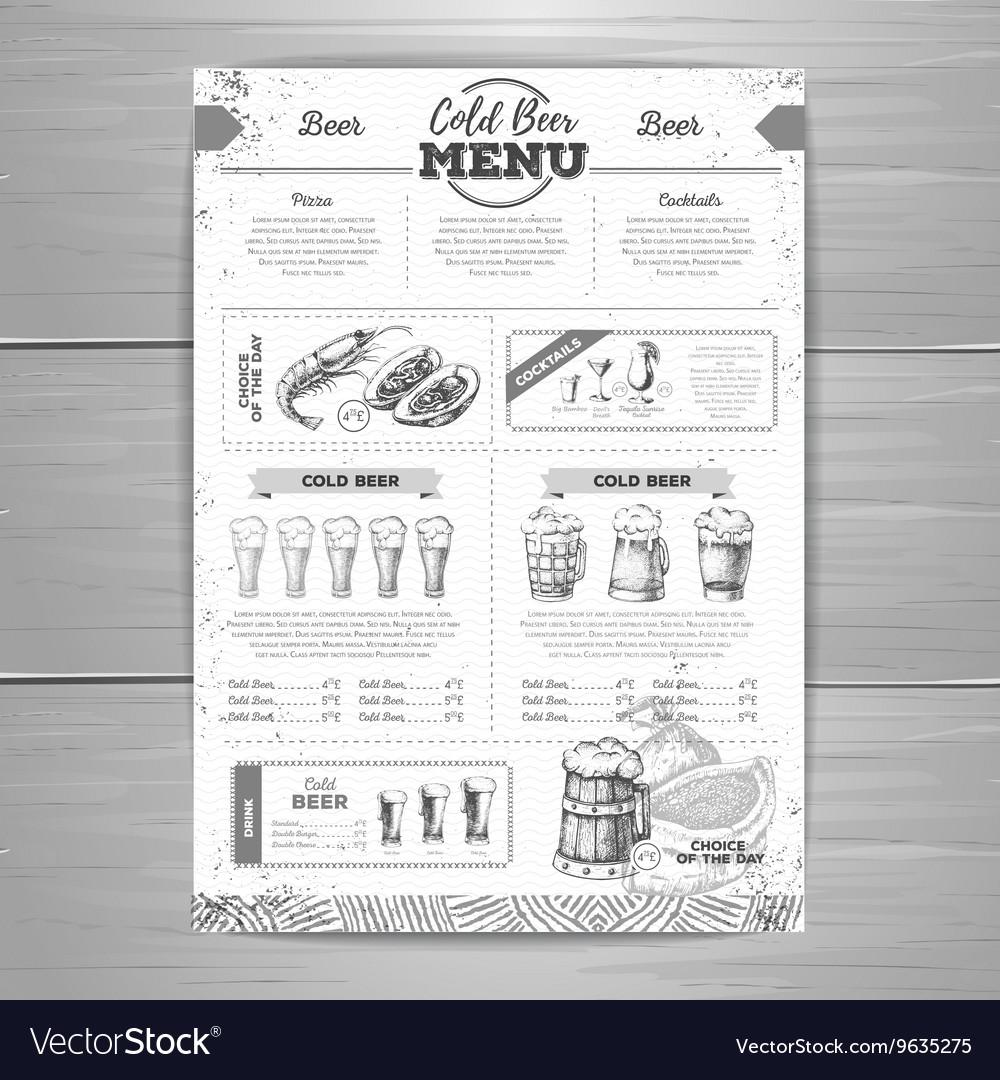 Vintage beer menu design
