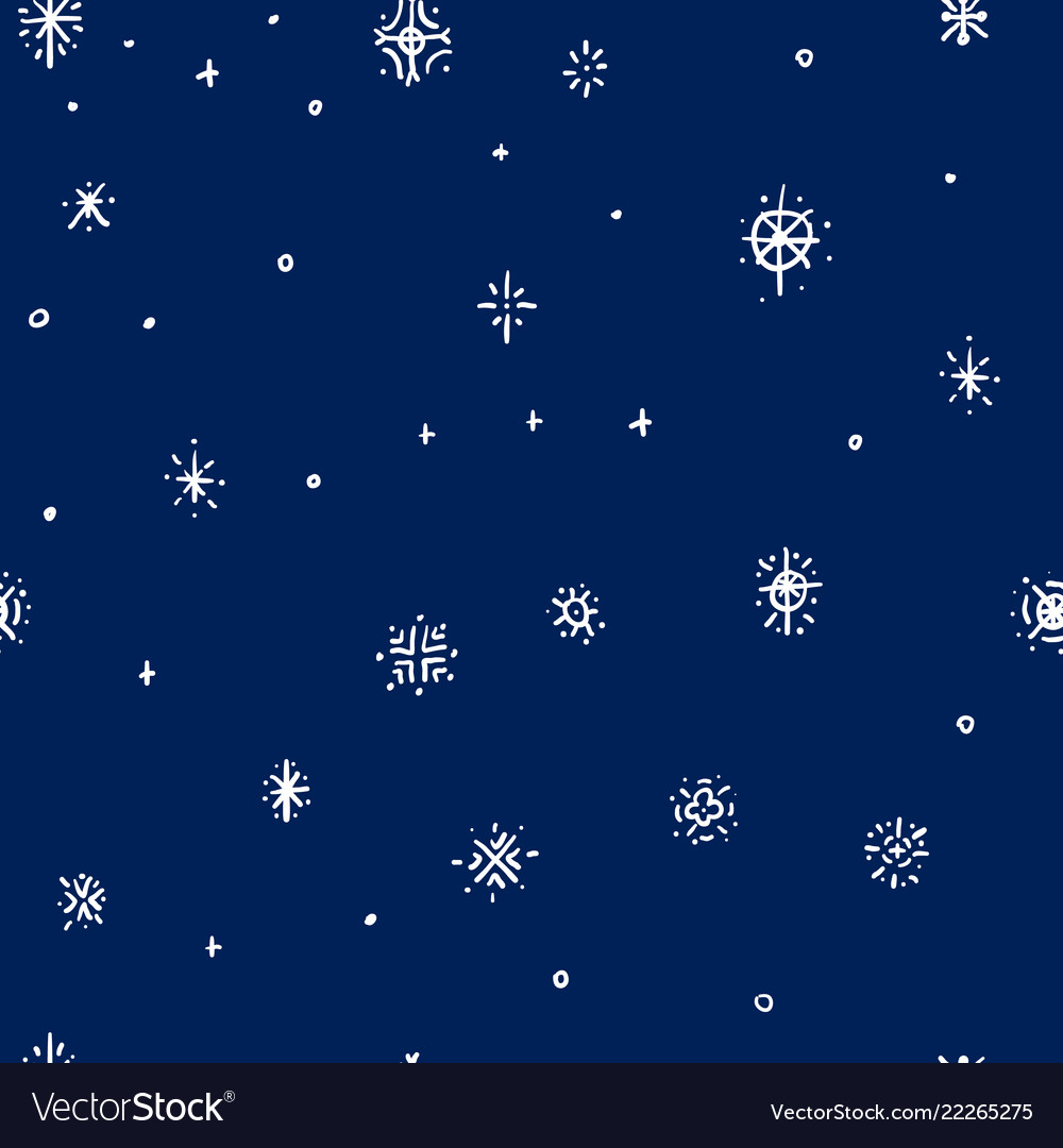 Winter hand drawn snowflakes seamless pattern