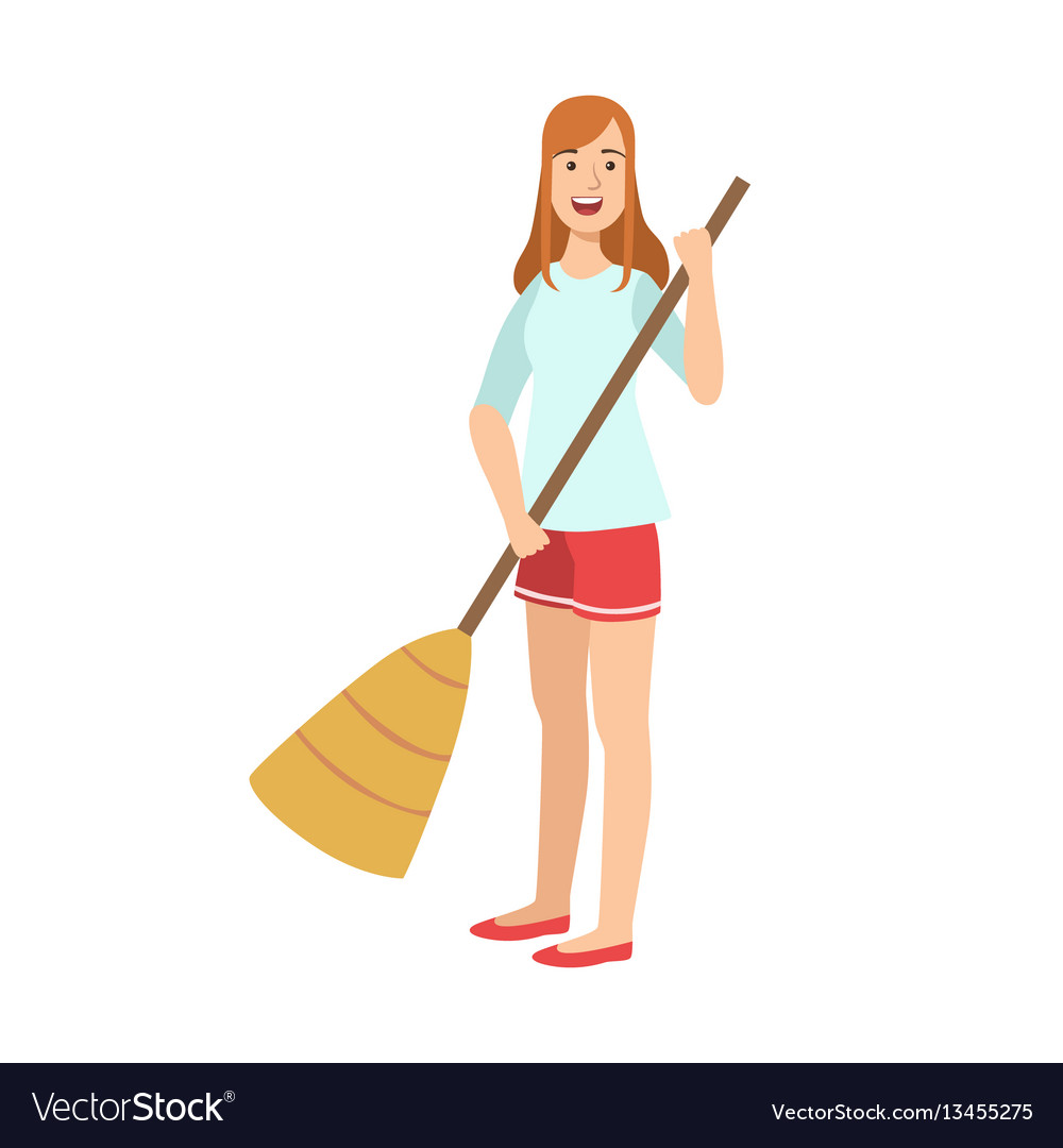 woman sweeping the floor with broom cartoon adult vector image vectorstock