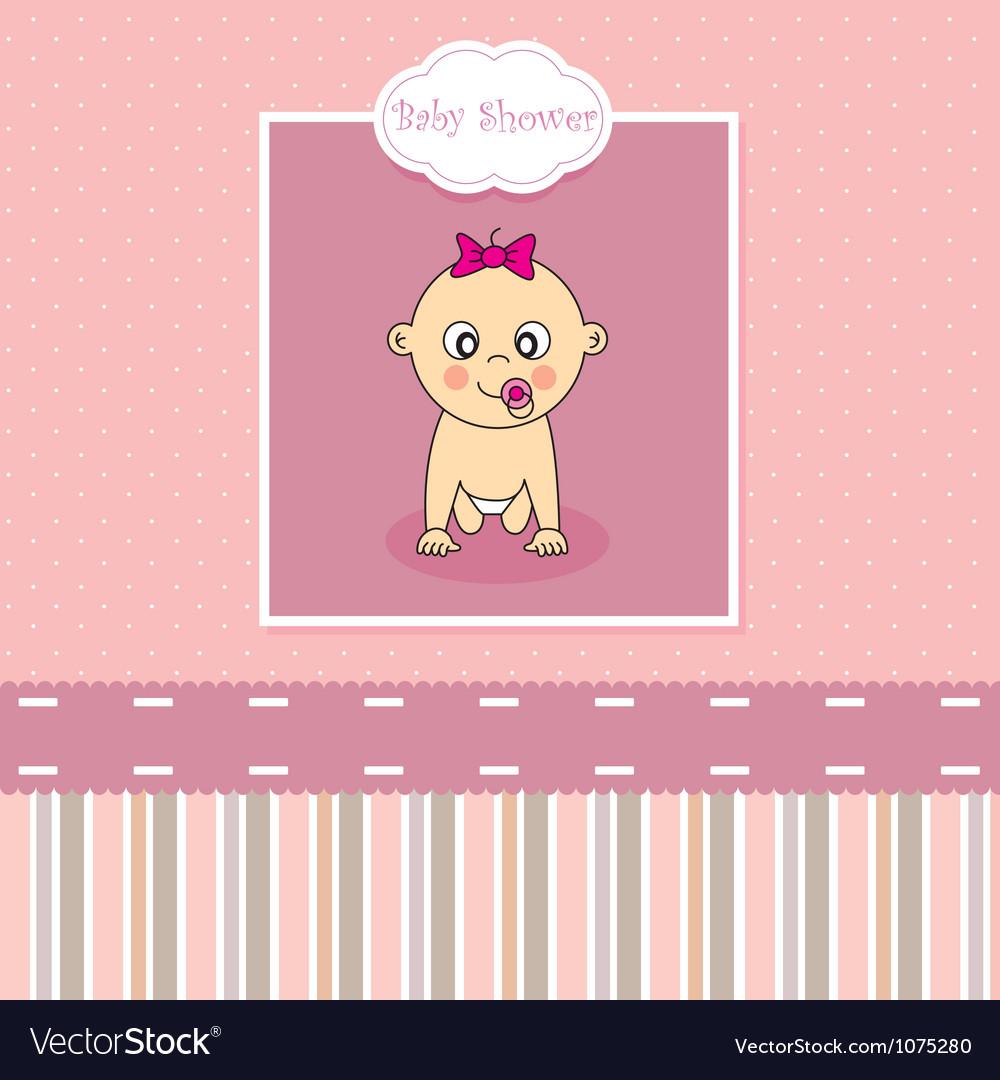 Baby Girl Birth Greeting Card Vector Art Download Vectors