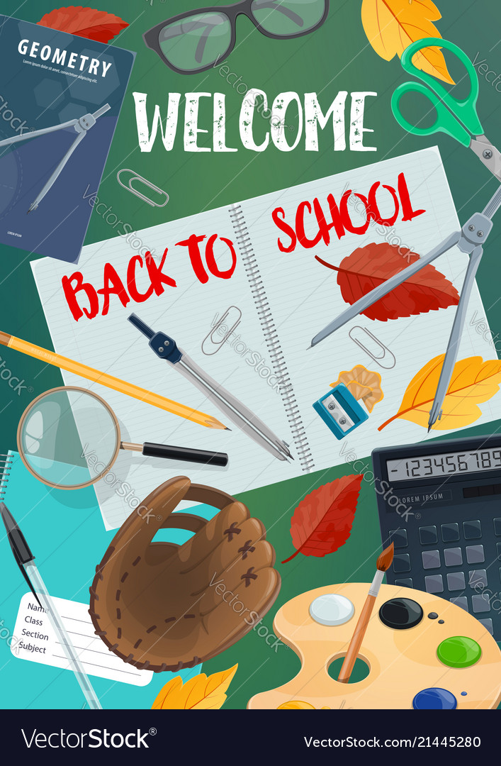 Back to school lettering with student items frame