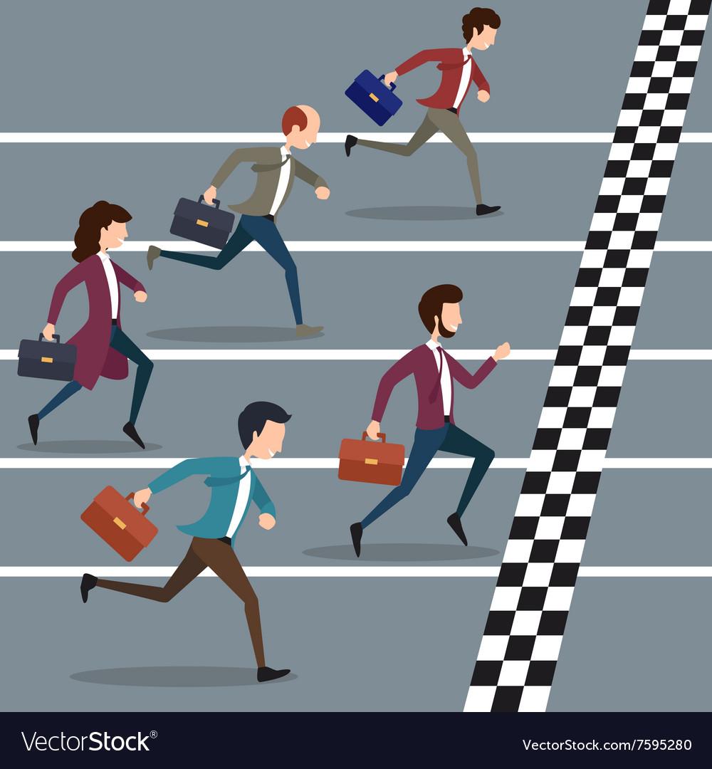 Business people winning marathon vector image