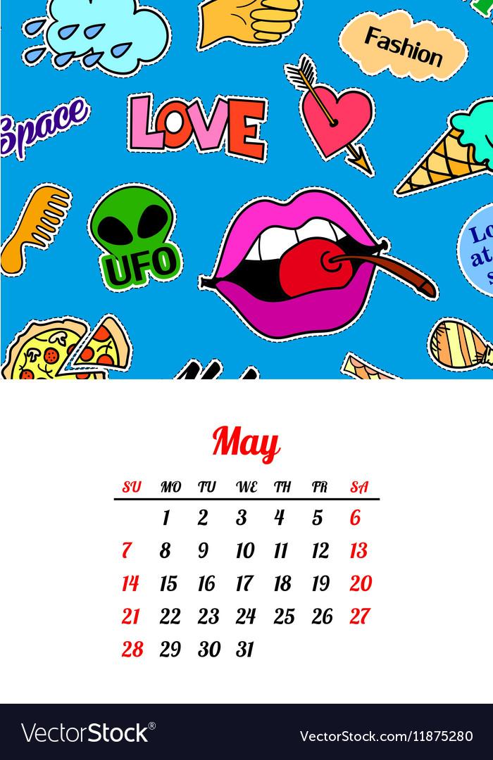 Calendar 2017 In cartoon 80s-90s comic style