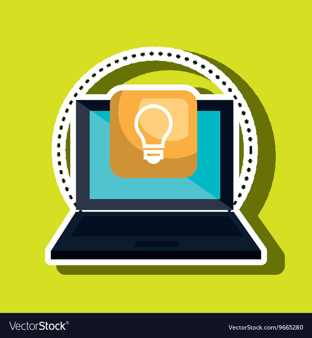 Computer laptop with bulb isolated icon design vector image