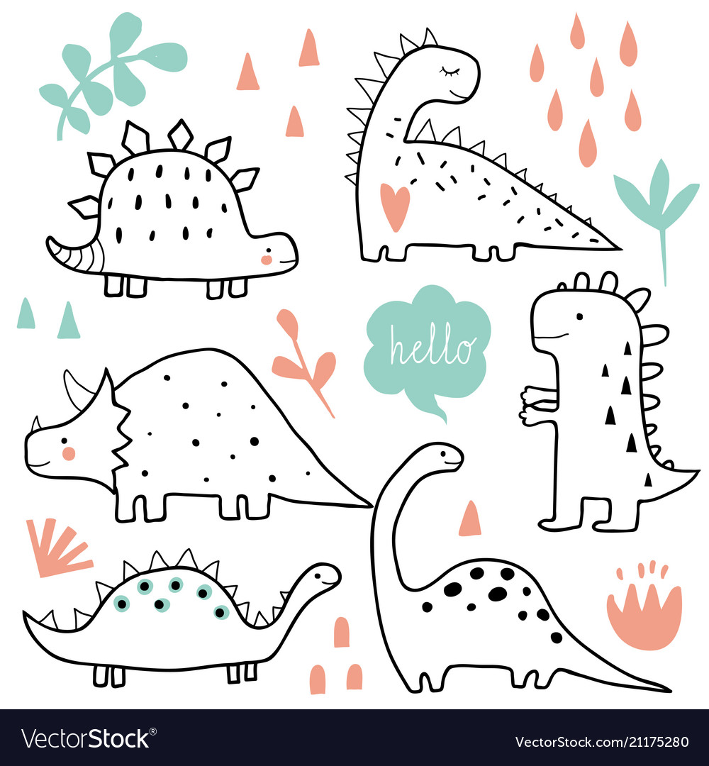 Cute dinosaurs and tropic plants