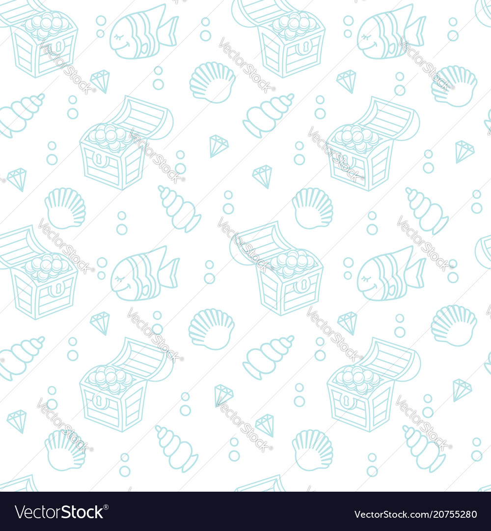Cute seamless pattern with a treasure chest