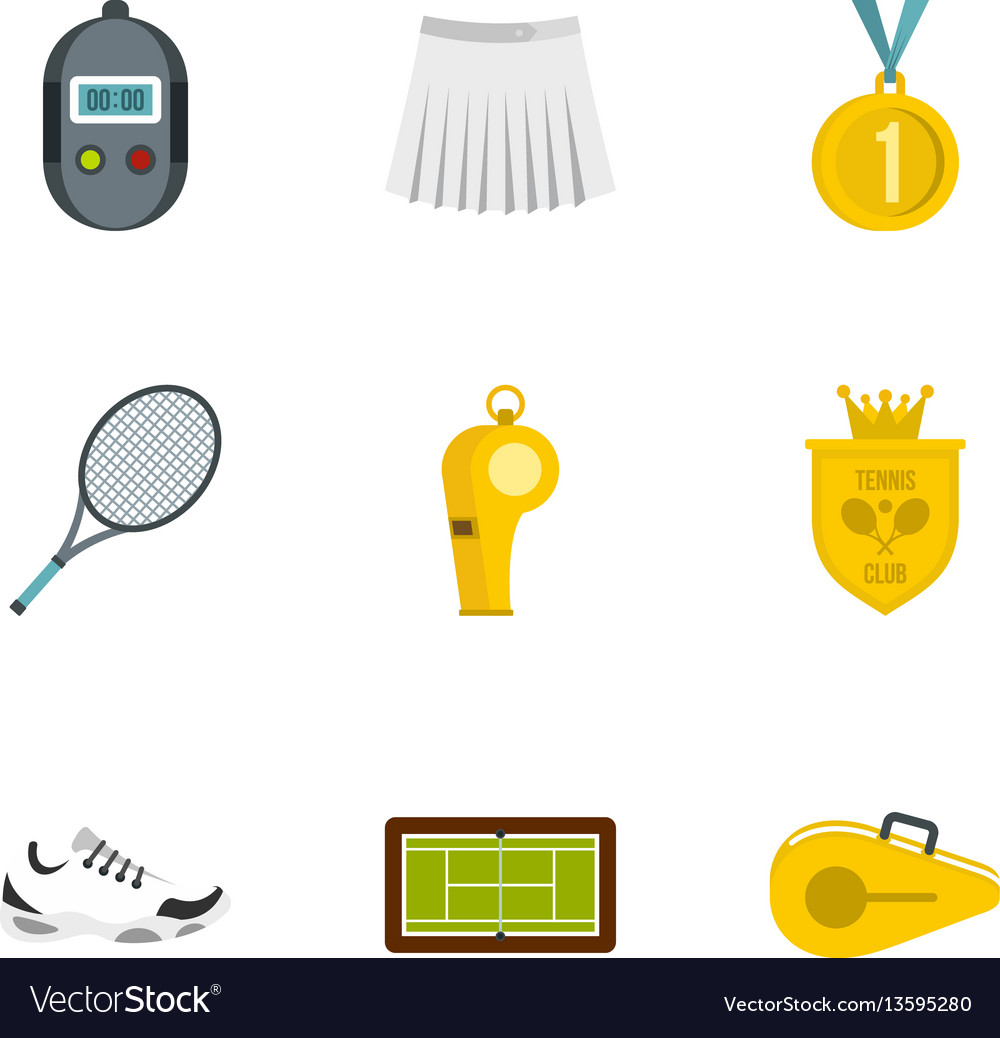 Equipment for tennis sport icons set flat style