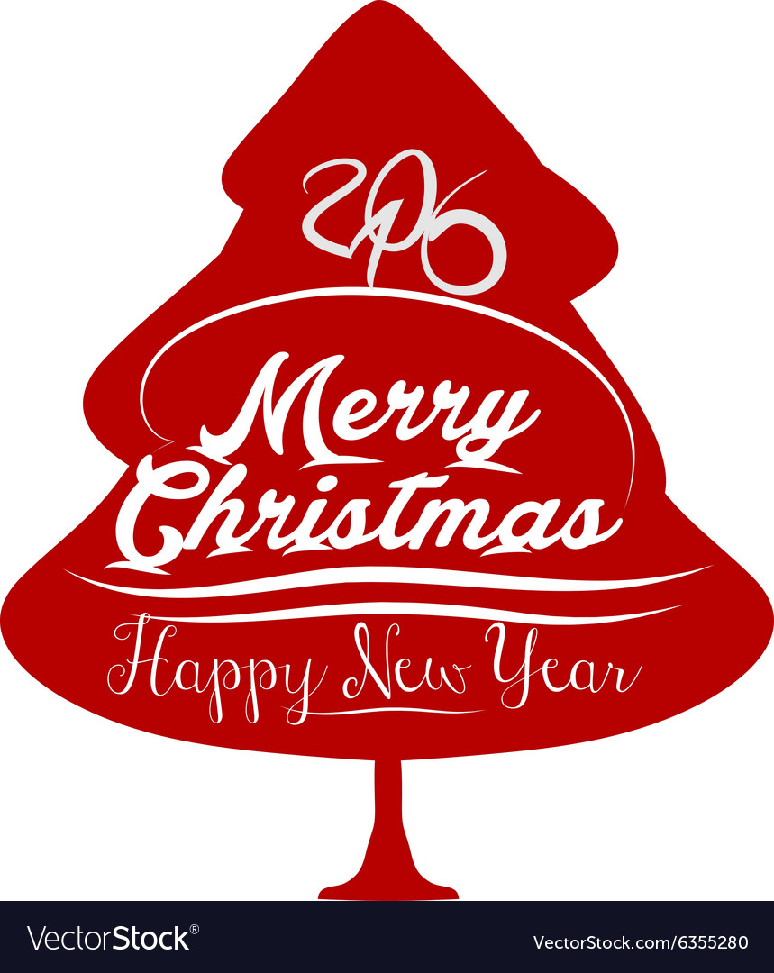 happy new year and merry christmas with tree vector image