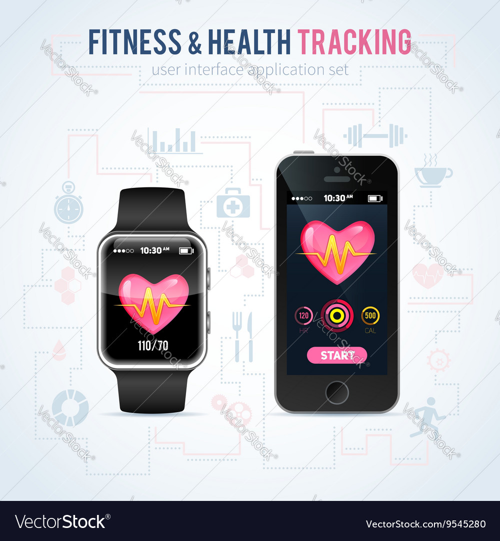 health fitness tracker on smart watch royalty free vector