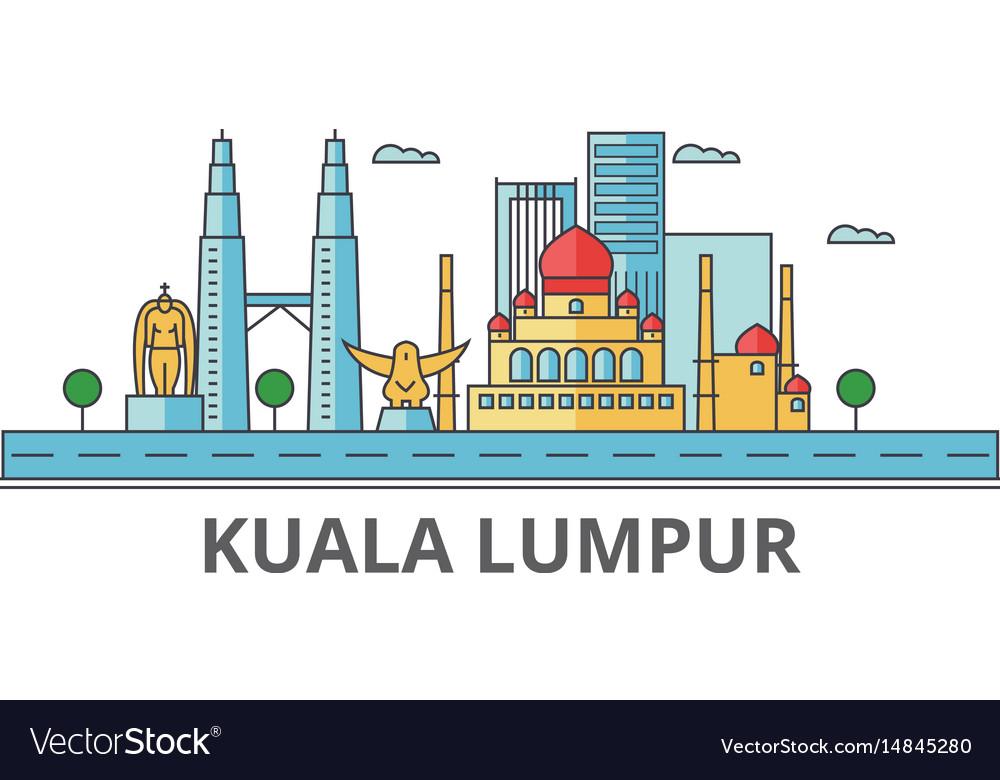 Kuala lumpur city skyline buildings streets vector image