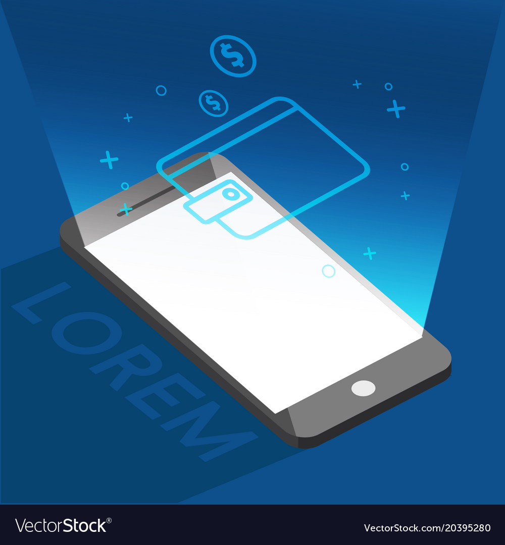 phone and wallet icon for buy online background vector image