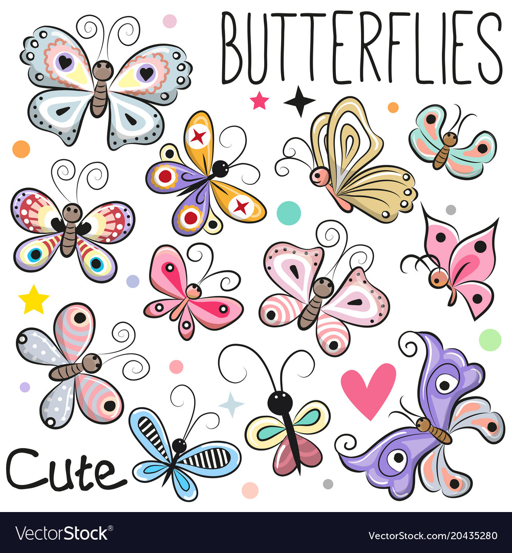 Set of cute cartoon butterflies vector image