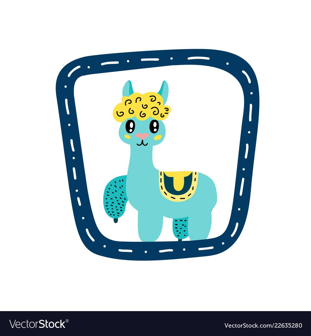 Small alpaca in blue frame