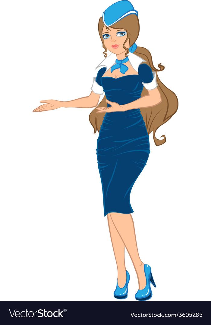 Air hostess in blue uniform vector image