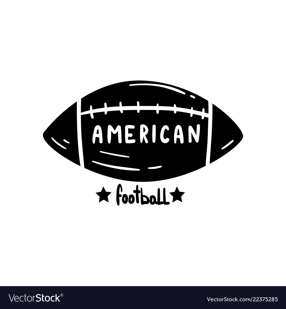 American football ball hand drawn retro design