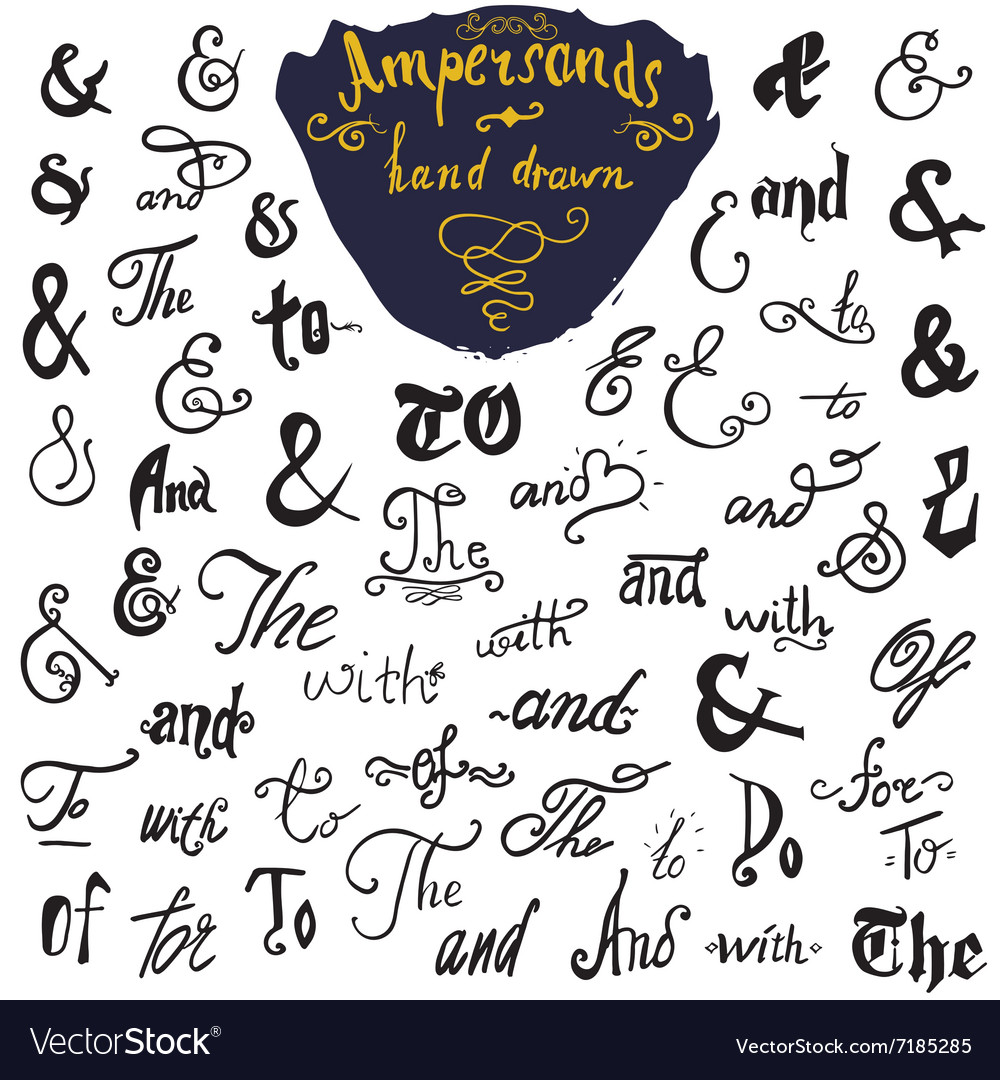 Ampersands and Catchwords hand drawn set for Logo