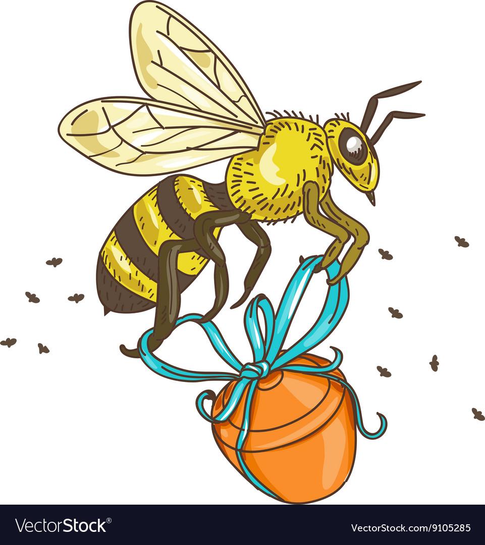 Bee Carrying Honey Pot Drawing