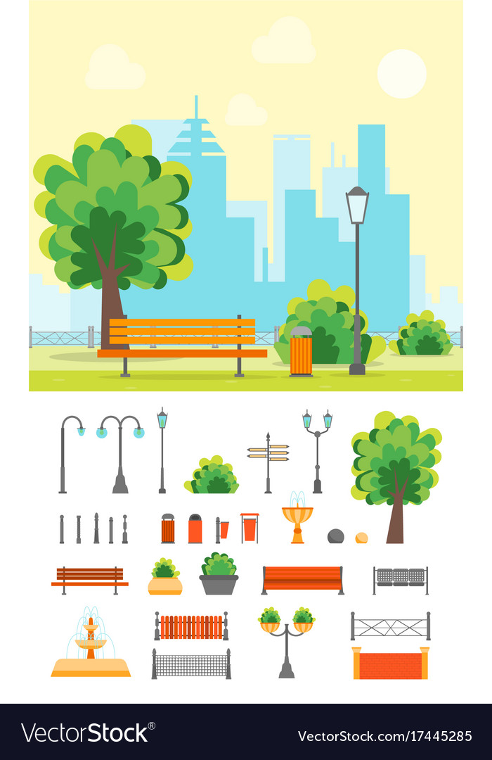 Cartoon urban park with bench and element set vector image