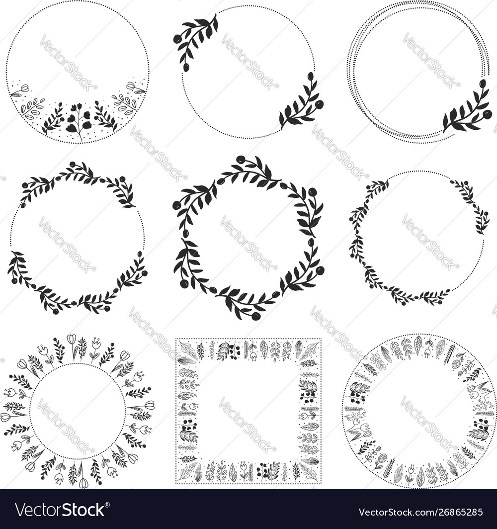 Doodle style floral leaf wreath frame collection