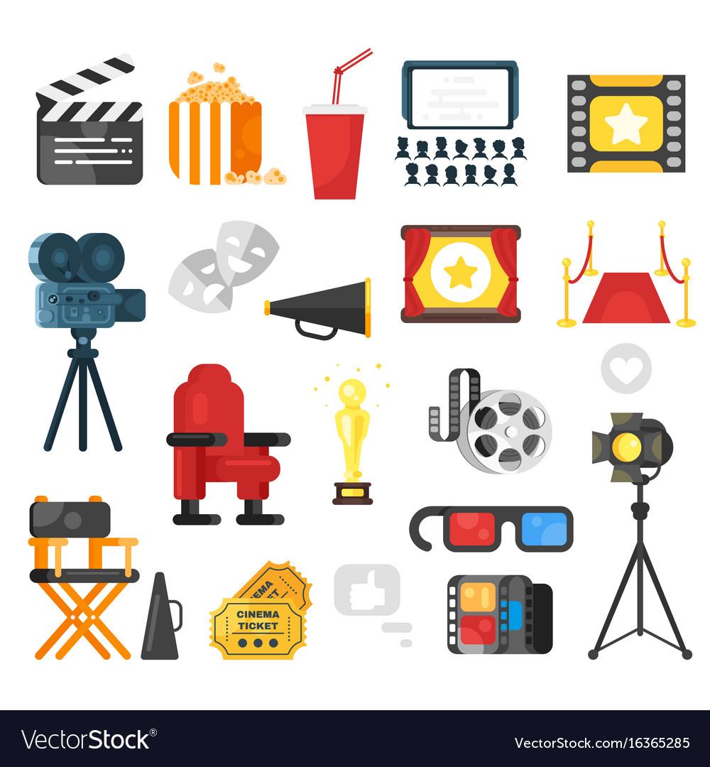 Flat style set of cinema icon